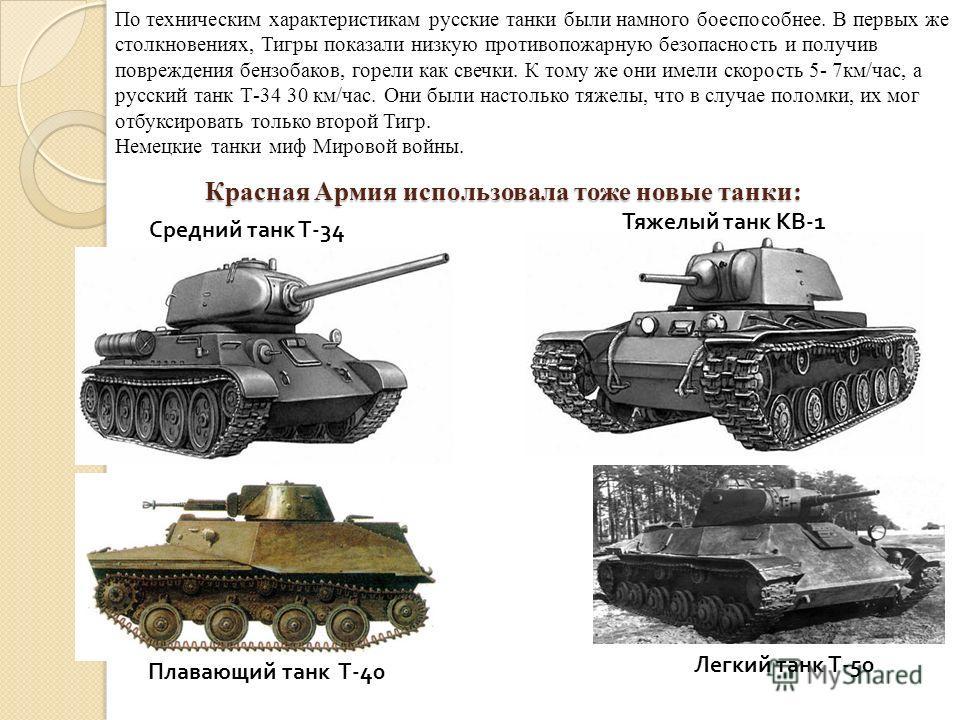 Красная Армия использовала тоже новые танки: По техническим характеристикам русские танки были намного боеспособнее. В первых же столкновениях, Тигры показали низкую противопожарную безопасность и получив повреждения бензобаков, горели как свечки. К
