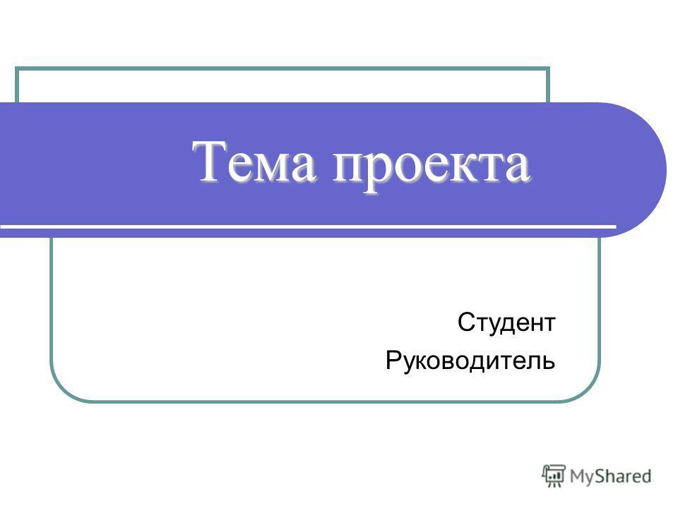 Тема проекта Студент Руководитель
