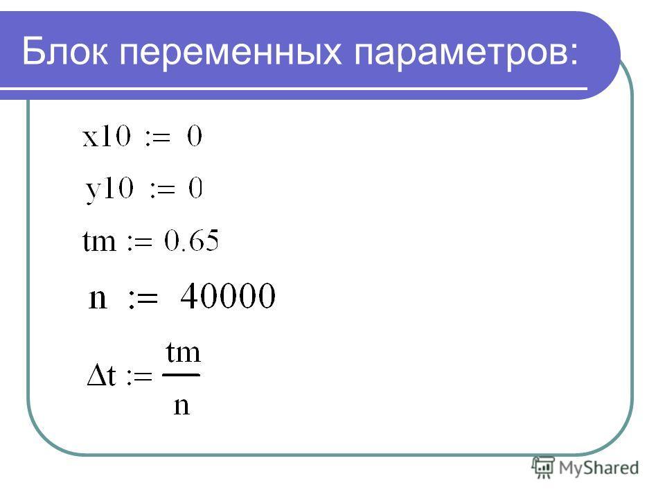 Блок переменных параметров: