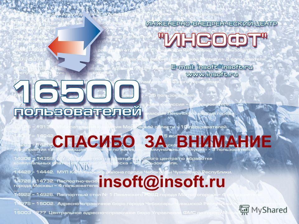 СПАСИБО ЗА ВНИМАНИЕ insoft@insoft.ru