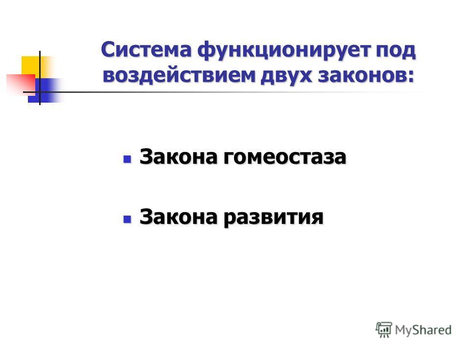 Система функционирует под воздействием двух законов: Закона гомеостаза Закона гомеостаза Закона развития Закона развития