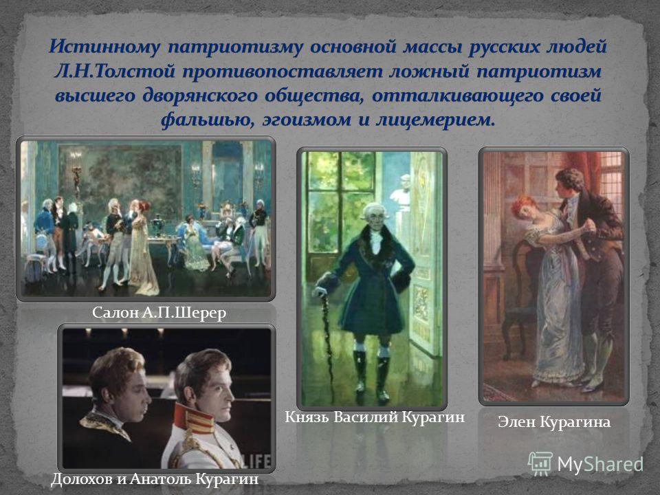 Салон А.П.Шерер Элен Курагина Долохов и Анатоль Курагин Князь Василий Курагин