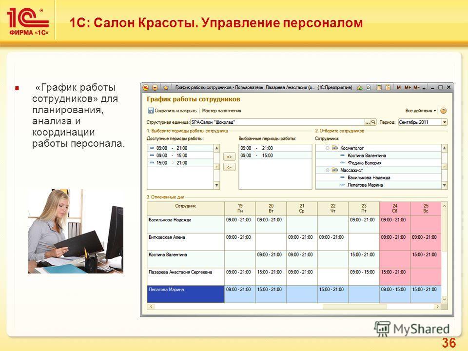 36 «График работы сотрудников» для планирования, анализа и координации работы персонала. 1С: Салон Красоты. Управление персоналом