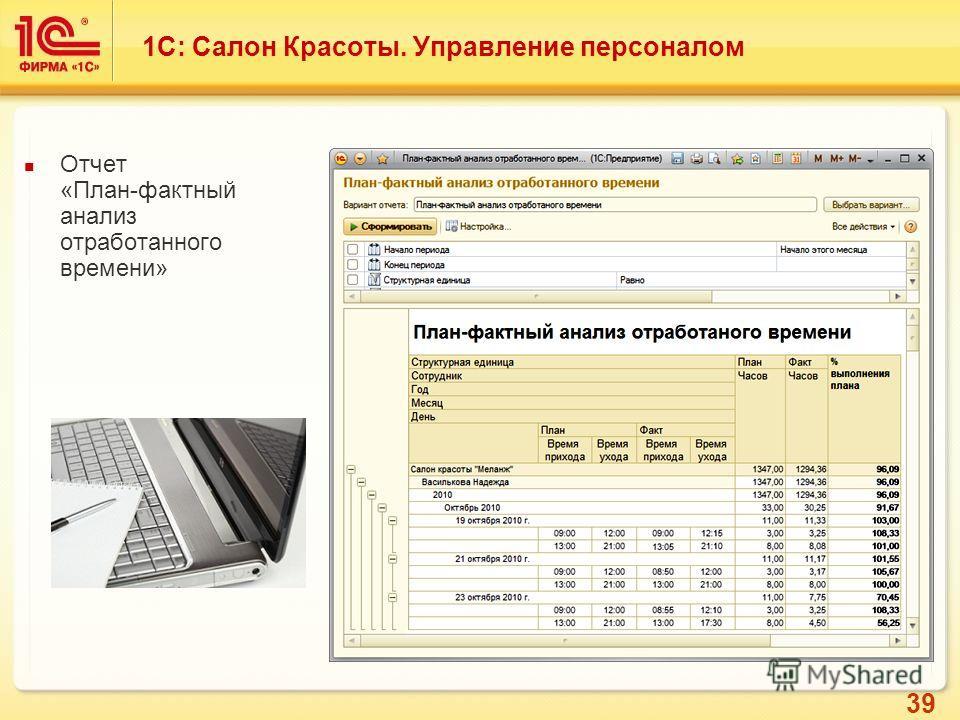 39 Отчет «План-фактный анализ отработанного времени» 1С: Салон Красоты. Управление персоналом