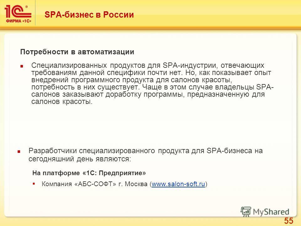 55 Разработчики специализированного продукта для SPA-бизнеса на сегодняшний день являются: На платформе «1С: Предприятие» Компания «АБС-СОФТ» г. Москва (www.salon-soft.ru)www.salon-soft.ru SPA-бизнес в России Потребности в автоматизации Специализиров