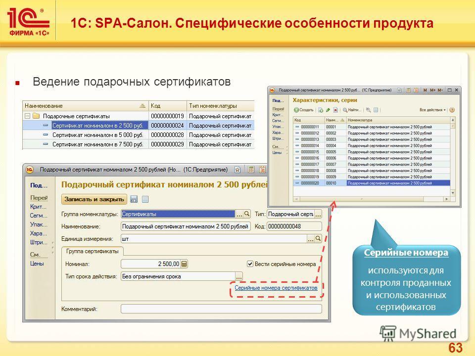 63 Ведение подарочных сертификатов Серийные номера используются для контроля проданных и использованных сертификатов 1С: SPA-Салон. Специфические особенности продукта