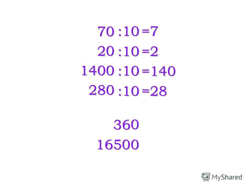 70 20 1400 280 :10 :10 :10 :10 =7 =2 =140 =28 36 0 16500