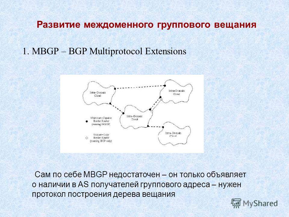 Развитие междоменного группового вещания 1. MBGP – BGP Multiprotocol Extensions Сам по себе MBGP недостаточен – он только объявляет о наличии в AS получателей группового адреса – нужен протокол построения дерева вещания
