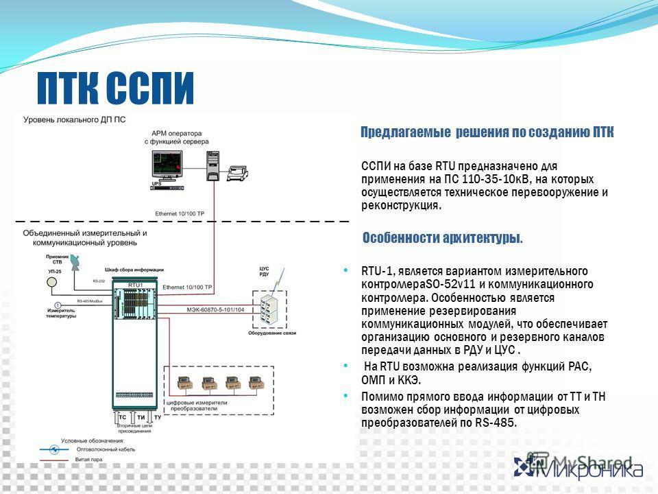 ПТК ССПИ Предлагаемые решения по созданию ПТК ССПИ на базе RTU предназначено для применения на ПС 110-35-10кВ, на которых осуществляется техническое перевооружение и реконструкция. Особенности архитектуры. RTU-1, является вариантом измерительного кон