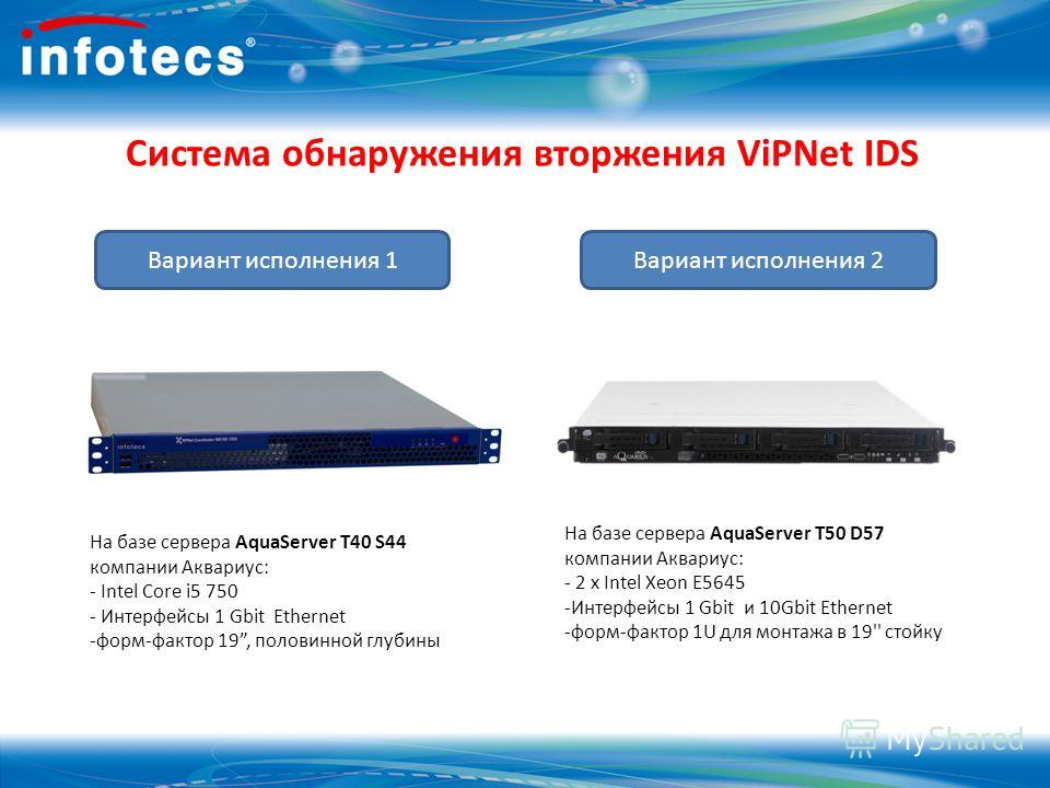 Система обнаружения вторжения ViPNet IDS На базе сервера AquaServer T40 S44 компании Аквариус: - Intel Core i5 750 - Интерфейсы 1 Gbit Ethernet -форм-фактор 19, половинной глубины На базе сервера AquaServer T50 D57 компании Аквариус: - 2 x Intel Xeon
