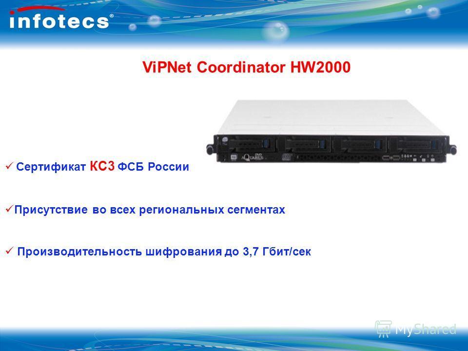 ViPNet Coordinator HW2000 Сертификат КС3 ФСБ России Присутствие во всех региональных сегментах Производительность шифрования до 3,7 Гбит/сек
