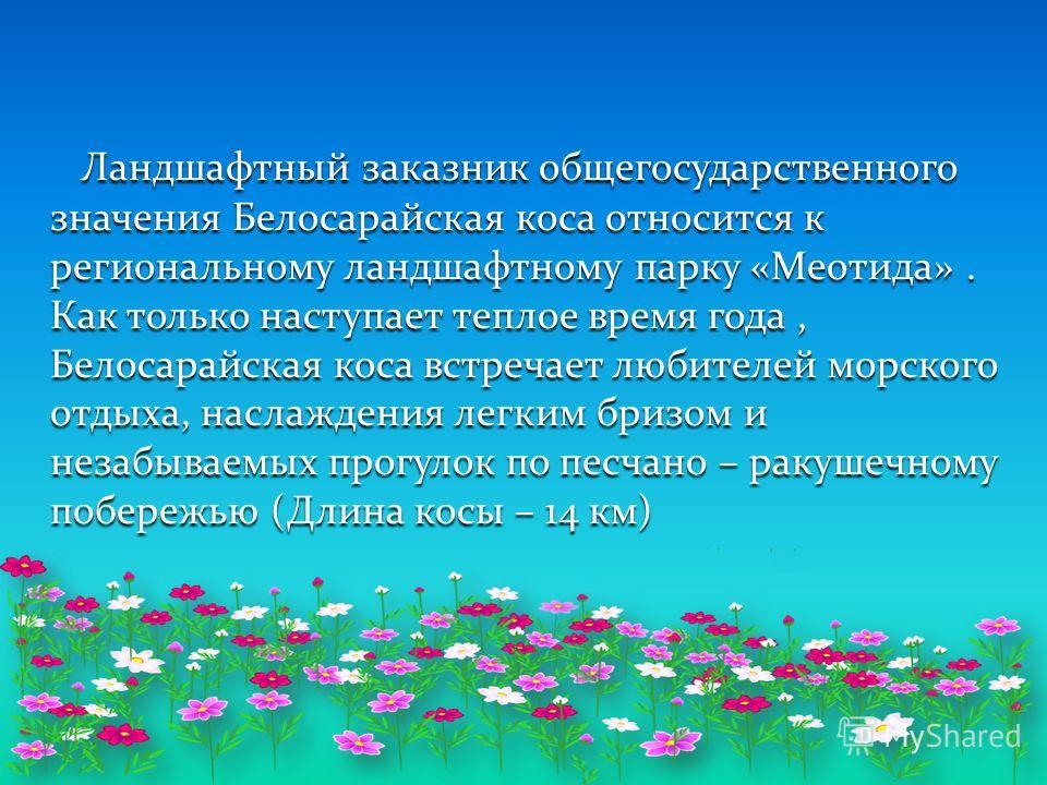 Ландшафтный заказник общегосударственного значения Белосарайская коса относится к региональному ландшафтному парку «Меотида». Как только наступает теплое время года, Белосарайская коса встречает любителей морского отдыха, наслаждения легким бризом и