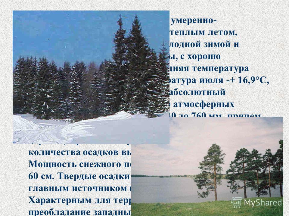 Климат Кирилловского района – умеренно- континентальный, с умеренно-теплым летом, продолжительной умеренно-холодной зимой и неустойчивым режимом погоды, с хорошо выраженной сезонностью. Средняя температура января -11,2°С, средняя температура июля -+