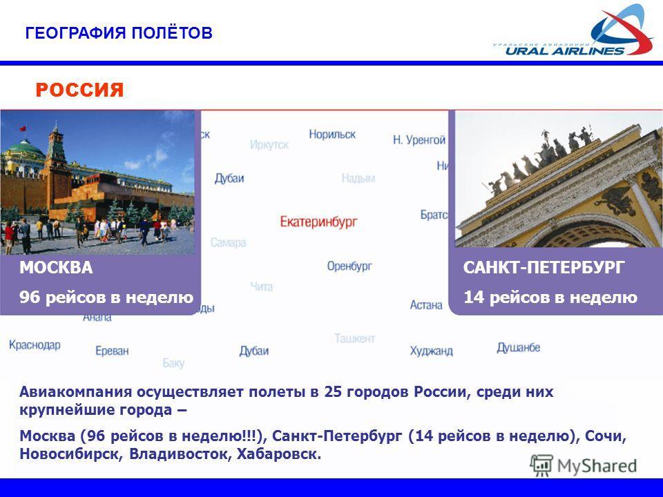 ГЕОГРАФИЯ ПОЛЁТОВ РОССИЯ МОСКВА 96 рейсов в неделю САНКТ-ПЕТЕРБУРГ 14 рейсов в неделю Авиакомпания осуществляет полеты в 25 городов России, среди них крупнейшие города – Москва (96 рейсов в неделю!!!), Санкт-Петербург (14 рейсов в неделю), Сочи, Ново