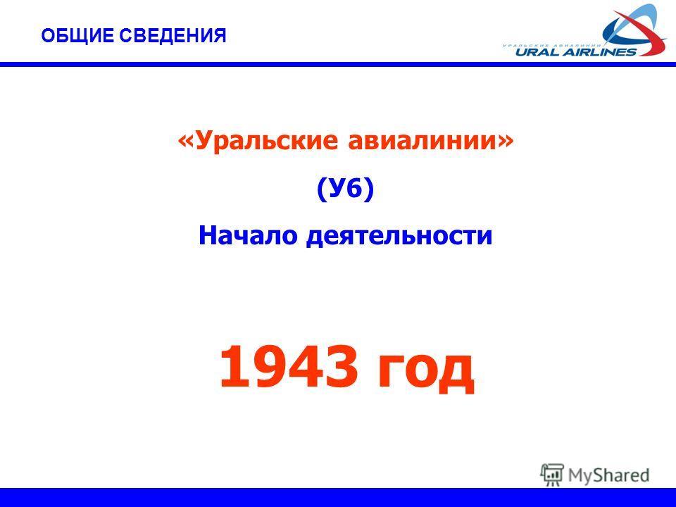 «Уральские авиалинии» (У6) Начало деятельности 1943 год ОБЩИЕ СВЕДЕНИЯ