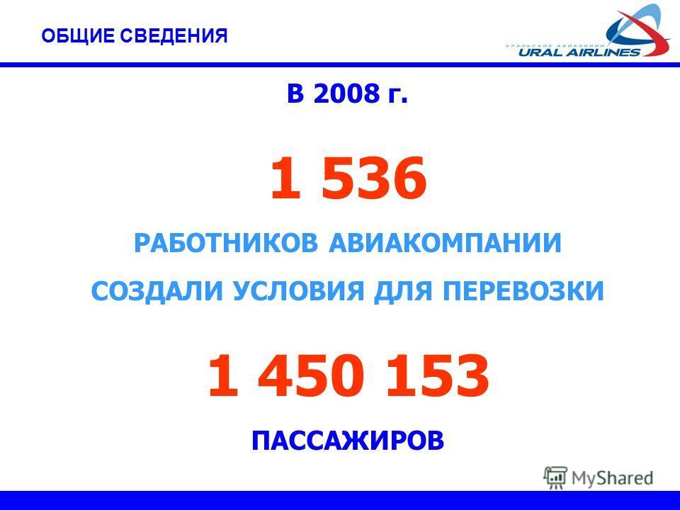 В 2008 г. 1 536 РАБОТНИКОВ АВИАКОМПАНИИ СОЗДАЛИ УСЛОВИЯ ДЛЯ ПЕРЕВОЗКИ 1 450 153 ПАССАЖИРОВ ОБЩИЕ СВЕДЕНИЯ
