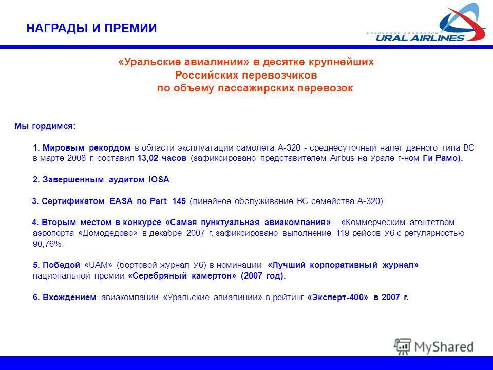 «Уральские авиалинии» в десятке крупнейших Российских перевозчиков по объему пассажирских перевозок Мы гордимся: 1. Мировым рекордом в области эксплуатации самолета А-320 - среднесуточный налет данного типа ВС в марте 2008 г. составил 13,02 часов (за