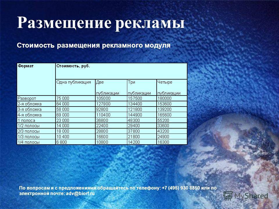 Размещение рекламы Стоимость размещения рекламного модуля По вопросам и с предложениями обращайтесь по телефону: +7 (495) 930 8850 или по электронной почте: adv@biorf.ru
