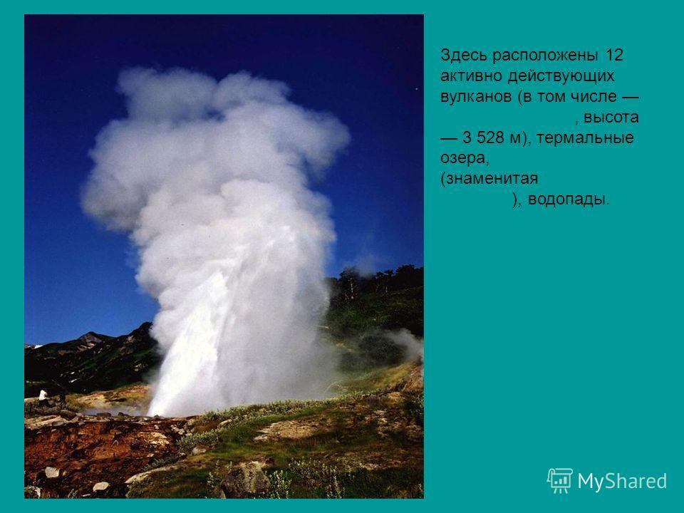 Здесь расположены 12 активно действующих вулканов (в том числе Кроноцкая сопка, высота 3 528 м), термальные озера, гейзеры (знаменитая Долина Гейзеров), водопады. Кроноцкая сопкагейзерыДолина Гейзеров