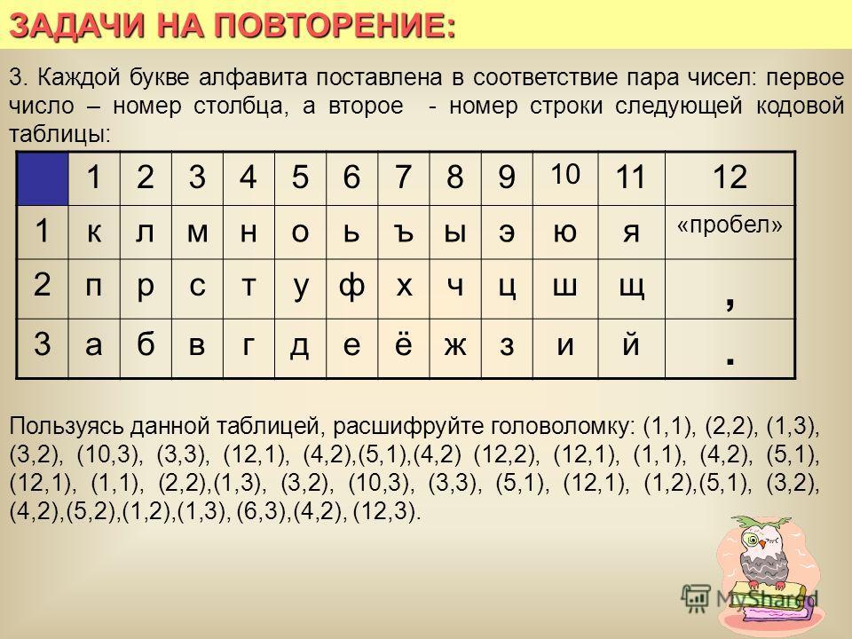 ЗАДАЧИ НА ПОВТОРЕНИЕ: 3. Каждой букве алфавита поставлена в соответствие пара чисел: первое число – номер столбца, а второе - номер строки следующей кодовой таблицы: 123456789 10 1112 1клмноьъыэюя «пробел» 2прстуфхчцшщ, 3абвгдеёжзий. Пользуясь данной