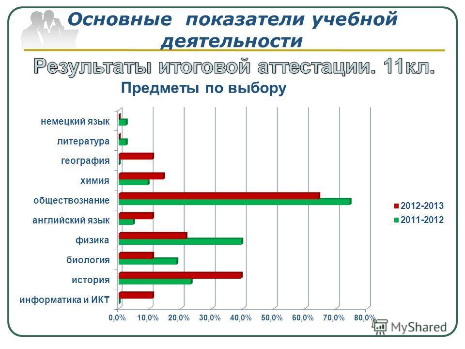 Основные показатели учебной деятельности Предметы по выбору