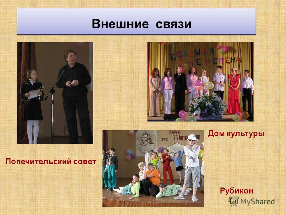 Внешние связи Попечительский совет Дом культуры Рубикон