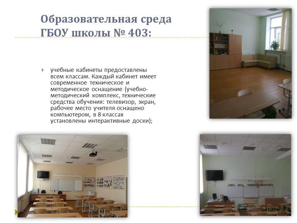 Образовательная среда ГБОУ школы 403: учебные кабинеты предоставлены всем классам. Каждый кабинет имеет современное техническое и методическое оснащение ( учебно - методический комплекс, технические средства обучения : телевизор, экран, рабочее место
