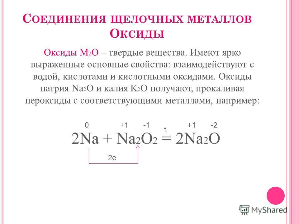 С ОЕДИНЕНИЯ ЩЕЛОЧНЫХ МЕТАЛЛОВ О КСИДЫ Оксиды М 2 О – твердые вещества. Имеют ярко выраженные основные свойства: взаимодействуют с водой, кислотами и кислотными оксидами. Оксиды натрия Na 2 O и калия K 2 O получают, прокаливая пероксиды с соответствую