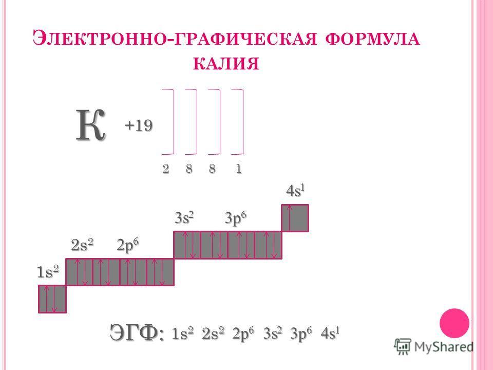 Э ЛЕКТРОННО - ГРАФИЧЕСКАЯ ФОРМУЛА КАЛИЯ К +19 2881 1s 2 2s 2 2p 6 3s 2 3p 6 4s 1 ЭГФ: 1s 2 2s 2 2p 6 3s 2 3p 6 4s 1