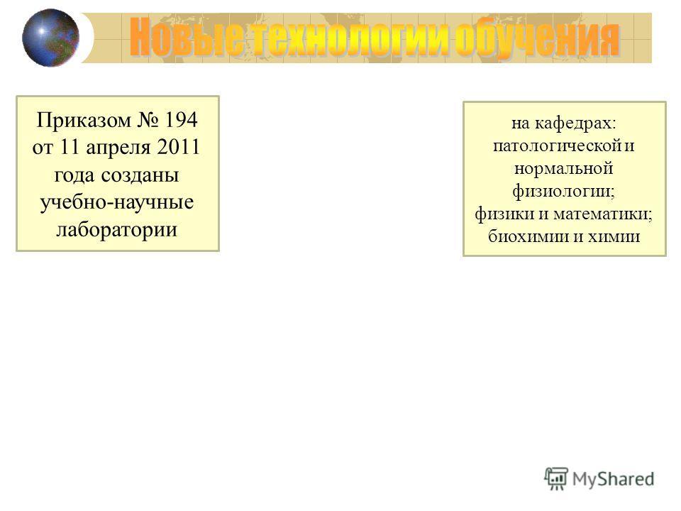Приказом 194 от 11 апреля 2011 года созданы учебно-научные лаборатории на кафедрах: патологической и нормальной физиологии; физики и математики; биохимии и химии