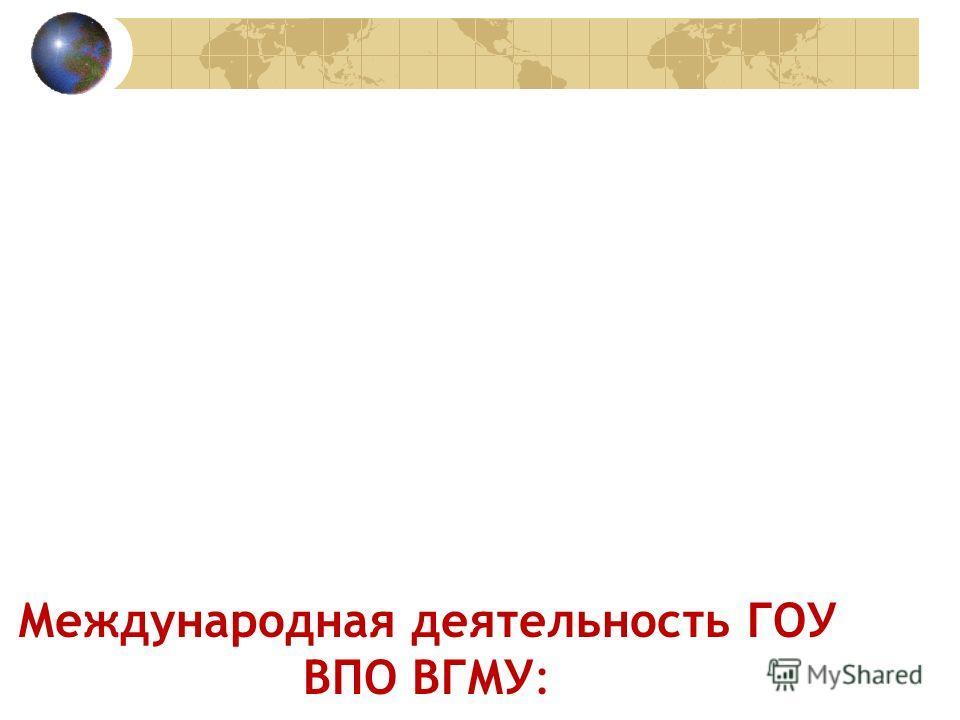Международная деятельность ГОУ ВПО ВГМУ: