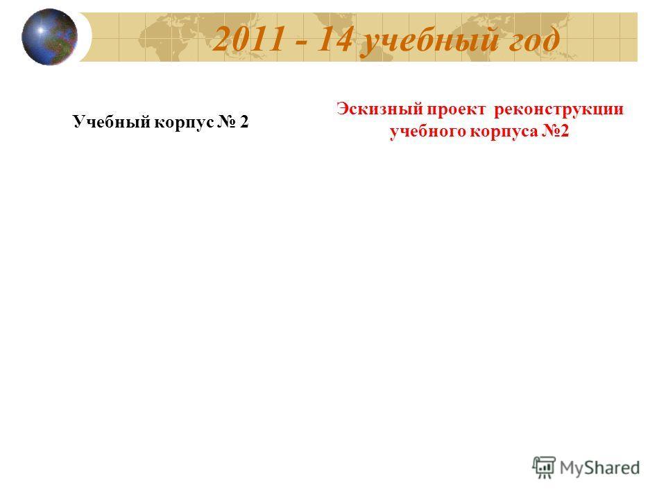 2011 - 14 учебный год Учебный корпус 2 Эскизный проект реконструкции учебного корпуса 2