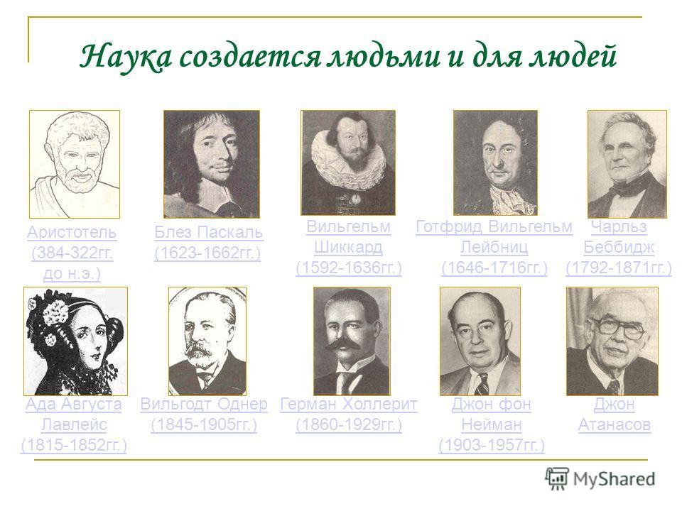 Аристотель (384-322гг. до н.э.) Вильгельм Шиккард (1592-1636гг.) Готфрид Вильгельм Лейбниц (1646-1716гг.) Чарльз Беббидж (1792-1871гг.) Джон фон Нейман (1903-1957гг.) Джон Атанасов Блез Паскаль (1623-1662гг.) Ада Августа Лавлейс (1815-1852гг.) Герман
