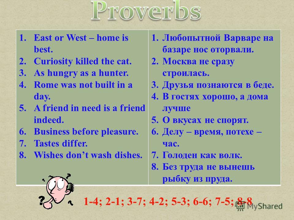 1.East or West – home is best. 2.Curiosity killed the cat. 3.As hungry as a hunter. 4.Rome was not built in a day. 5.A friend in need is a friend indeed. 6.Business before pleasure. 7.Tastes differ. 8.Wishes dont wash dishes. 1.Любопытной Варваре на