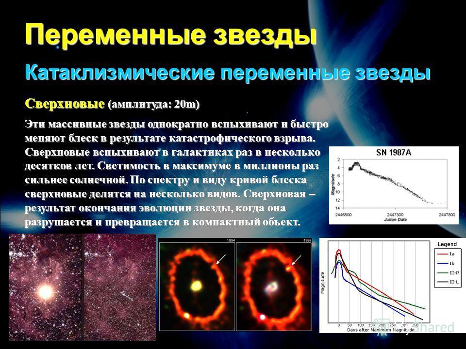 Переменные звезды Катаклизмические переменные звезды Сверхновые (амплитуда: 20m) Эти массивные звезды однократно вспыхивают и быстро меняют блеск в результате катастрофического взрыва. Сверхновые вспыхивают в галактиках раз в несколько десятков лет.