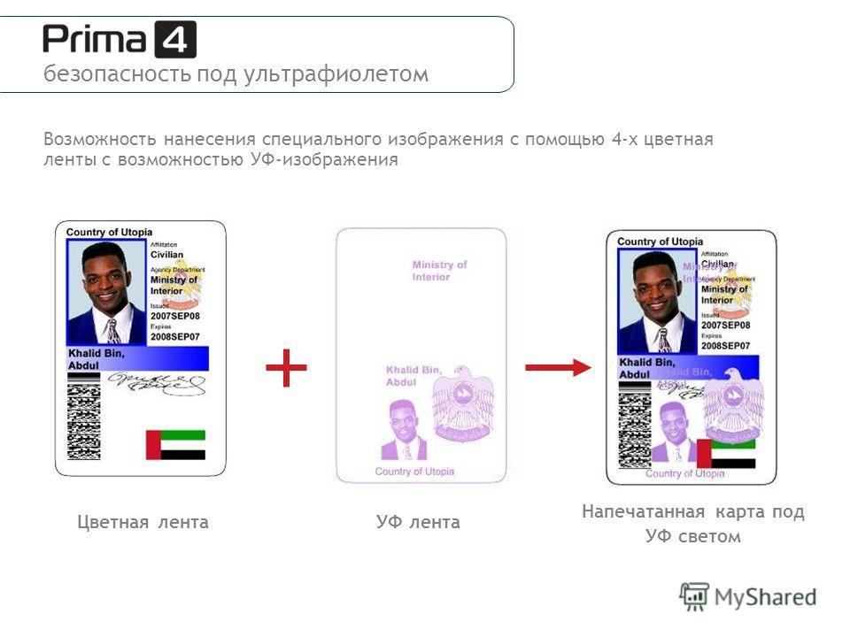 Напечатанная карта под УФ светом УФ лентаЦветная лента Возможность нанесения специального изображения с помощью 4-х цветная ленты с возможностью УФ-изображения безопасность под ультрафиолетом
