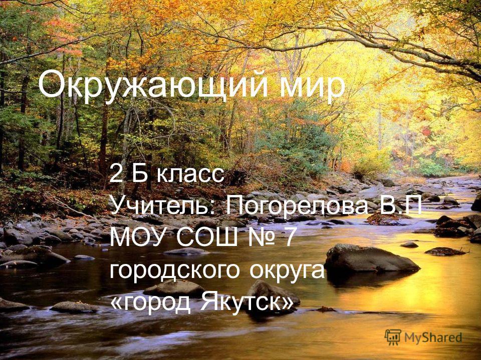 Окружающий мир 2 Б класс Учитель: Погорелова В.П МОУ СОШ 7 городского округа «город Якутск».