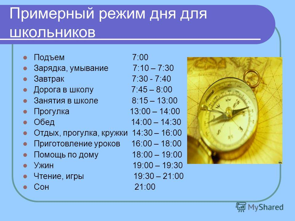 Правильный режим дня для школьника