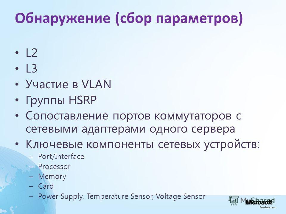 Обнаружение (сбор параметров) L2 L3 Участие в VLAN Группы HSRP Сопоставление портов коммутаторов с сетевыми адаптерами одного сервера Ключевые компоненты сетевых устройств: – Port/Interface – Processor – Memory – Card – Power Supply, Temperature Sens