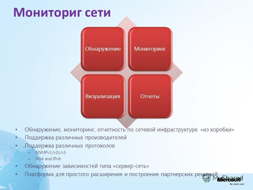 ОбнаружениеМониторингВизуализацияОтчеты Мониториг сети Обнаружение, мониторинг, отчетность по сетевой инфраструктуре «из коробки» Поддержка различных производителей Поддержка различных протоколов – SNMPv1/v2c/v3 – IPv4 and IPv6 Обнаружение зависимост