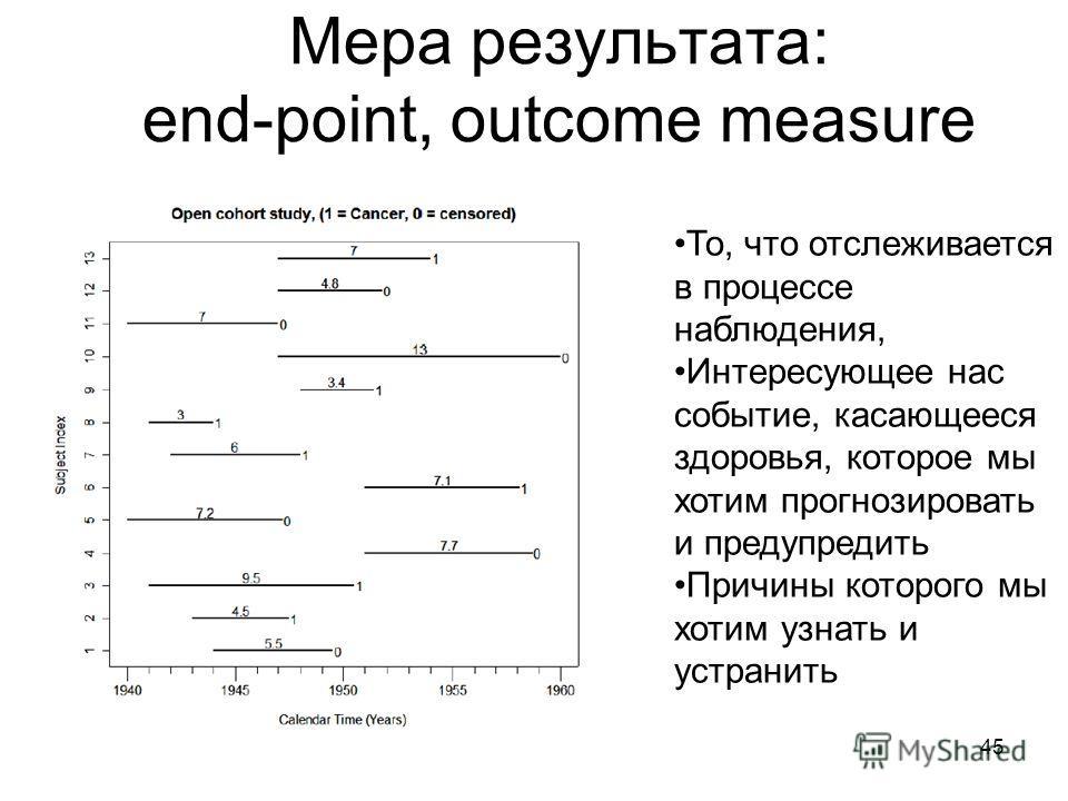 45 Мера результата: end-point, outcome measure То, что отслеживается в процессе наблюдения, Интересующее нас событие, касающееся здоровья, которое мы хотим прогнозировать и предупредить Причины которого мы хотим узнать и устранить