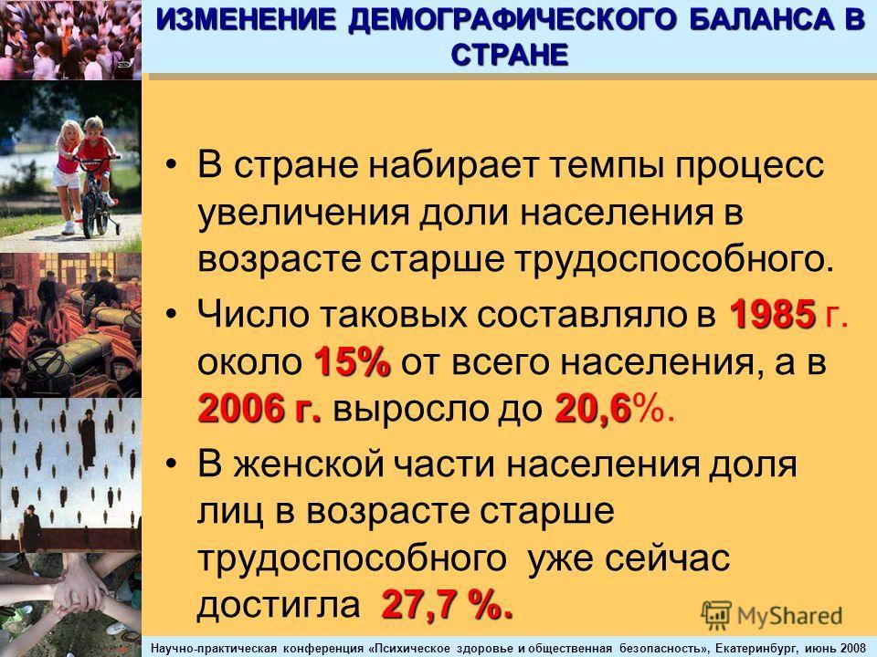 Научно-практическая конференция «Психическое здоровье и общественная безопасность», Екатеринбург, июнь 2008 ИЗМЕНЕНИЕ ДЕМОГРАФИЧЕСКОГО БАЛАНСА В СТРАНЕ В стране набирает темпы процесс увеличения доли населения в возрасте старше трудоспособного. 1985