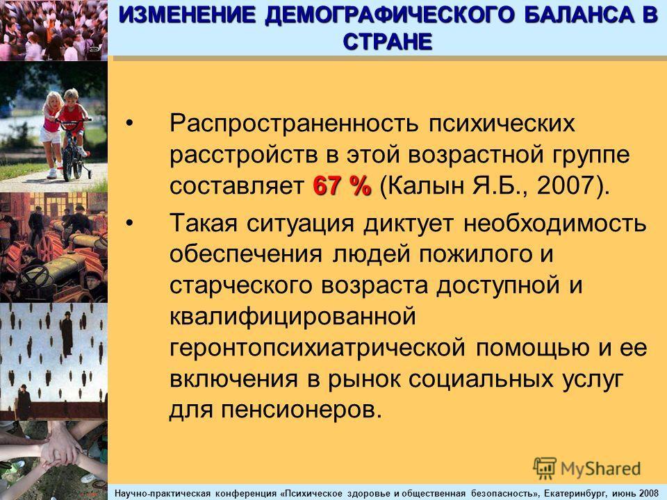 Научно-практическая конференция «Психическое здоровье и общественная безопасность», Екатеринбург, июнь 2008 ИЗМЕНЕНИЕ ДЕМОГРАФИЧЕСКОГО БАЛАНСА В СТРАНЕ 67 %Распространенность психических расстройств в этой возрастной группе составляет 67 % (Калын Я.Б