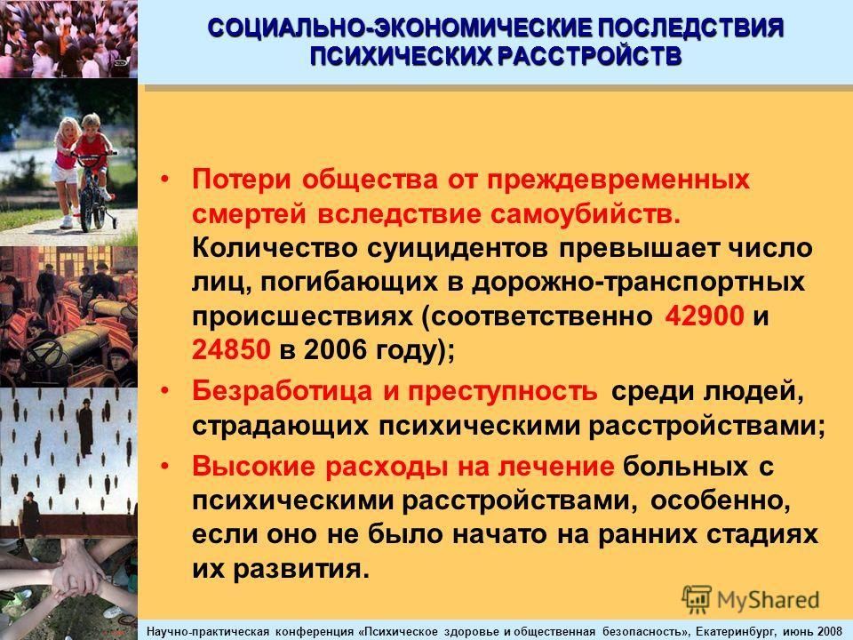 Научно-практическая конференция «Психическое здоровье и общественная безопасность», Екатеринбург, июнь 2008 СОЦИАЛЬНО-ЭКОНОМИЧЕСКИЕ ПОСЛЕДСТВИЯ ПСИХИЧЕСКИХ РАССТРОЙСТВ Потери общества от преждевременных смертей вследствие самоубийств. Количество суиц