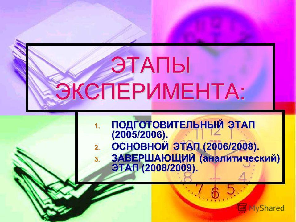 ЭТАПЫ ЭКСПЕРИМЕНТА: 1. ПОДГОТОВИТЕЛЬНЫЙ ЭТАП (2005/2006). 2. ОСНОВНОЙ ЭТАП (2006/2008). 3. ЗАВЕРШАЮЩИЙ (аналитический) ЭТАП (2008/2009).