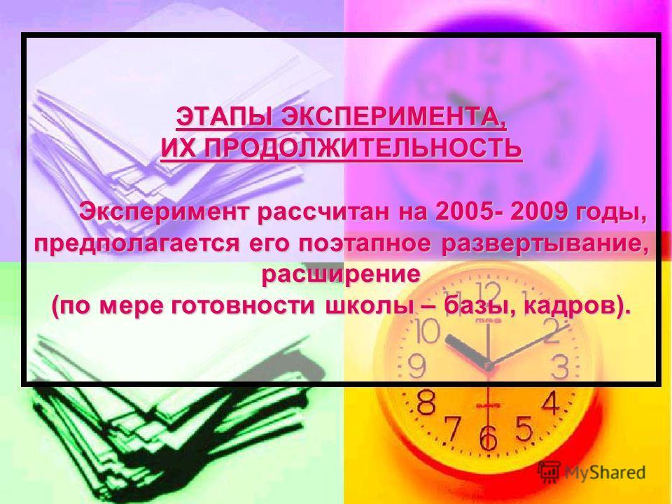 ЭТАПЫ ЭКСПЕРИМЕНТА, ИХ ПРОДОЛЖИТЕЛЬНОСТЬ Эксперимент рассчитан на 2005- 2009 годы, предполагается его поэтапное развертывание, расширение (по мере готовности школы – базы, кадров).
