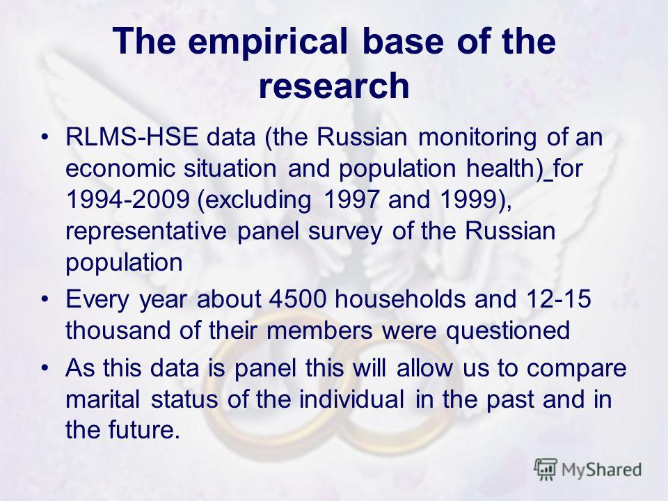 The empirical base of the research RLMS-HSE data (the Russian monitoring of an economic situation and population health) for 1994-2009 (excluding 1997 and 1999), representative panel survey of the Russian population Every year about 4500 households a