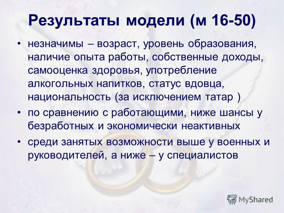 Результаты модели (м 16-50) незначимы – возраст, уровень образования, наличие опыта работы, собственные доходы, самооценка здоровья, употребление алкогольных напитков, статус вдовца, национальность (за исключением татар ) по сравнению с работающими,