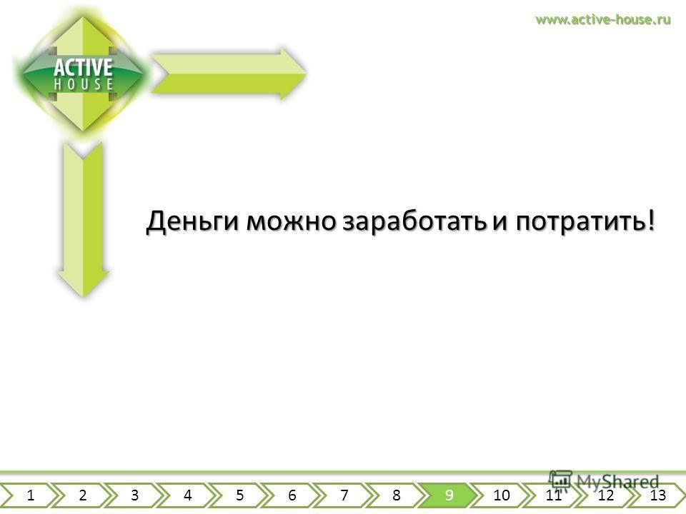 www.active-house.ru Деньги можно заработать и потратить! 12345678910111213