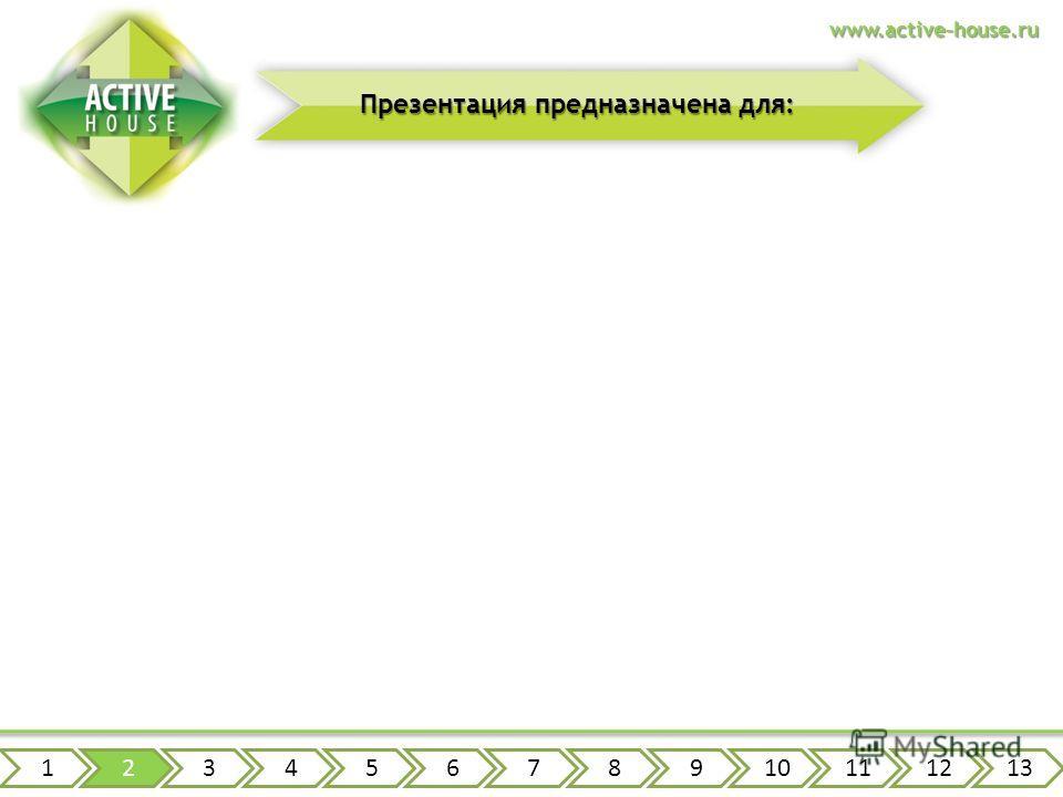 12345678910111213 счастливых обладателей загородных домов будущих обладателей загородных домов Презентация предназначена для: www.active-house.ru